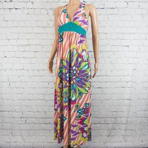 Flying Tomato pink multicolor print maxi dress